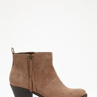 FOREVER 21 Zippered Faux Suede Booties Taupe