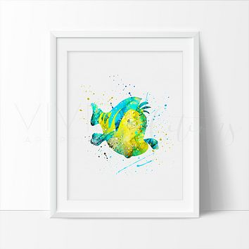 Flounder, Little Mermaid Watercolor Art Print