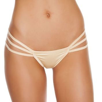 Triple Strapped String Back Bottom - Nude