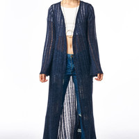Navy Blue Fringe Trim Long Knit Cardigan