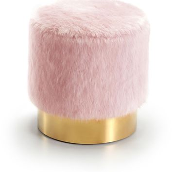 Estelle Pink Fur Ottoman/Stool Gold Stainless Steel Base