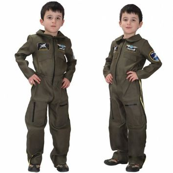 Air Force Fighter Pilot Child Costume Career Day Ambition Halloween Kids Fancy Dress