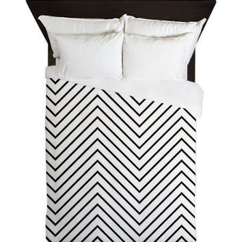 Duvet Cover - Light Chevron Black - Black White Duvet Cover - Teen Room Decor - Glamour Decor - Fashion Decor - Dorm Decor - Black Chevron