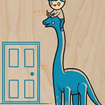 'Dino Height' Measuring Dinosaur Humor - Plywood Wood Print Poster Wall Art