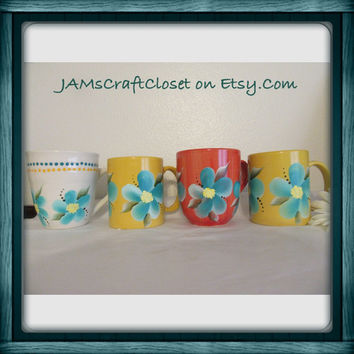 Unique Mugs One of a Kind Mugs Hand Painted Mugs by ME Aqua Floral Mugs Coffee Mugs Tea Mugs--Awesome Gift Idea-Kitchen Decor-Kitchen Dining