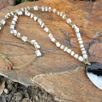 Long Hemp Necklace, Genuine Moonstone, Black and White Agate Pendant, Long Necklace, Necklace, Gift, Gemstones, Handmade, Hemp Necklace,Gift