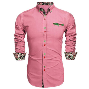 Modern Fashion Long Sleeve Paisley Cuff Men Casual Shirt