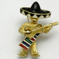 Vintage CINER Figural Mexican Guitar Player Brooch Pin