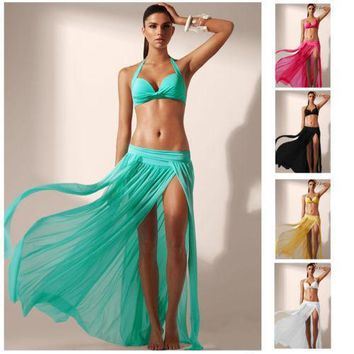Casual Loose Long Maxi Slit Dress Bikini Cover-up Swimwear Swimsuit