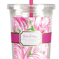 Lilly Pulitzer Tumbler with Straw- Pink Colony
