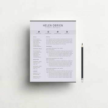 Resume Template Word - Professional and Modern  Resume Template with Free Cover Letter, CV, Teacher Resume, CV Template - Mac or Pc