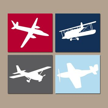 AIRPLANE Wall Art, CANVAS or Prints, Baby Boy Nursery Decor, Airplane Theme PLANES, Aviation Decor, Navy Red, Set of 4, Big Boy Bedroom