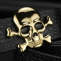 High Quality Skull buckle luxury belts mens Pirate Crocodile Grain designer wide belts Cowskin genuine leather