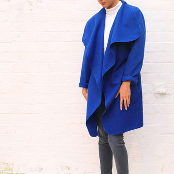 Midi Length Oversized Felt Waterfall Drape Belted Throw On Coat in Cobalt Blue
