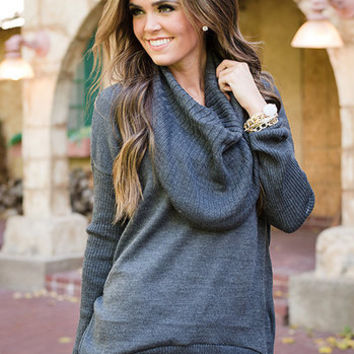 High Low Cowl Neck Sweater Charcoal