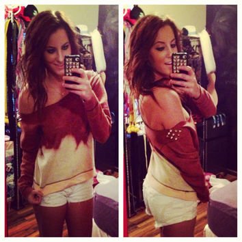 Studded Dip Dyed Ombré Brown Off the Shoulder Sweatshirt Sz. Small