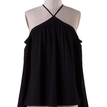 CITY OF ANGELS OFF THE SHOULDER BLOUSE - BLACK
