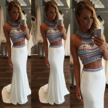 Hot Sale Two Pieces White Prom Dress Beautiful Crystal Beaded Mermaid Prom Dress 2016 Cheap Long Evening Gowns Graduation Dress