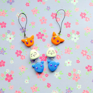 Anime Fruits basket Kawaii polymer clay bag charm  Kyo Yuki and Tohru cute manga keychain