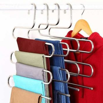 S Shape 5 Bars Pants Trousers Hanging Clothes Hanger