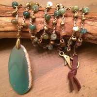 Boho Chic Necklace - Long Layering Natural Stone Necklace With Jasper, Metal Beads and Green Geode Pendant
