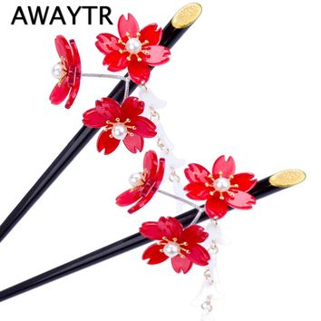 AWAYTR Japanese Cherry Blossoms Hair Sticks 2017 Vintage Red Flower Cherry Tassel Hairpin New Wedding Bridal Hair Jewelry