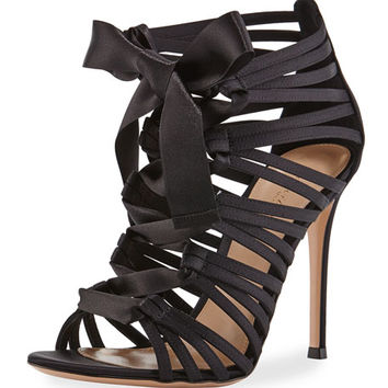Gianvito Rossi Strappy Lace-Up Satin Sandal, Black