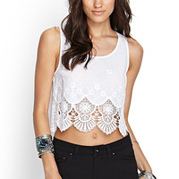 FOREVER 21 Embroidered Crochet Woven Tank White