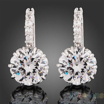 Women 18k White Gold Crystal Stud Earrings Zircon