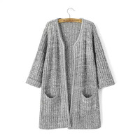 Knitted Cardigan Sweater with Pockets