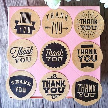 90PCS/lot Zakka Handmade style 9 Design Vintage Kraft Paper Thank You Circle Seal Sticker/Dia 4cm Round Paper Packaging Label