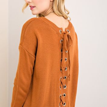 Lace Up Sweater - Cinnamon