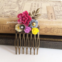 Maroon Wedding Hair Comb Bridal Hair Piece Accessories Purple Yellow Ivory Flowers Floral Vintage Style Bridesmaids Autumn Fall Woodland WR