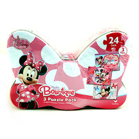 Minnie Mouse Bow-tique 3 Puzzle Pack in Bow Shaped Tin