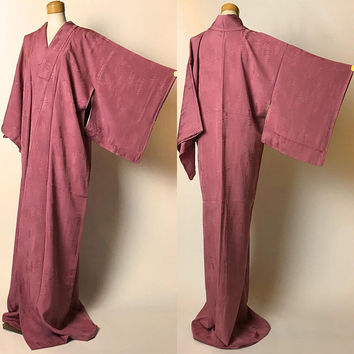 "Japanese K031503 Bautiful Beigeish Orange ""Iro-muji"" Kimono Vintage"