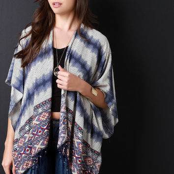 Aztec Stripes Beaded Fringe Poncho