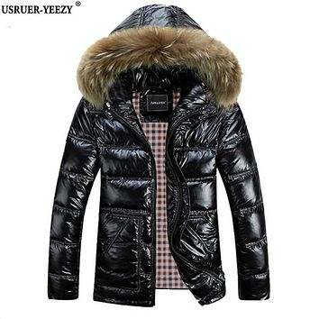 USRUER-YEEZY M-8XL Winter Men Down Jackets Brand Clothing Men's White Duck Hooded Jacket Thick Jaqueta Masculina Inverno Casacos