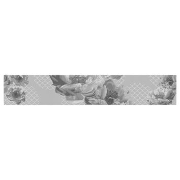 "Pellerina Design ""Lace Peony in Gray"" Grey Floral Table Runner"