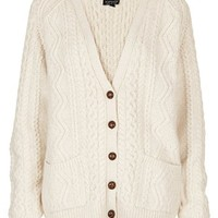 Topshop Cable Knit V-Neck Cardigan