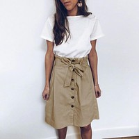 Vintage a line skirts women Elegant high waist button sashes female skirt Korean casual ruffled ladies skirts
