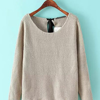 Back Ribbon Long Sleeve Knit Sweater