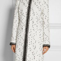 Oscar de la Renta - Crochet-trimmed flecked tweed coat