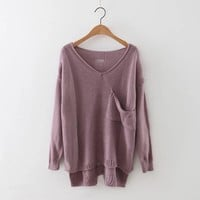 New style of the fall of the V personalized pocket sweater knit sweater