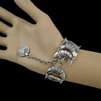 Bohemian Style Silver Plated Moon Shape Statement Bracelet Handmade Gypsy Turkish Jewelry (Color: Silver)