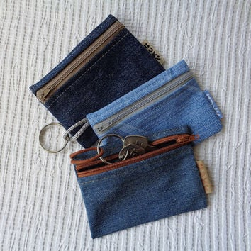 3 in 1 - denim keychain ring / key pouch / coin purse / card holder / car documents wallet