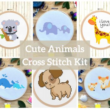 Modern Animal Cross Stitch Kit Set - Fox, Whale, Elephant, Koala, Giraffe, Puppy Dog