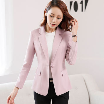 Women Long sleeve One button candy color Jackets 2016 Spring Autumn Vogue Solid Slim Office wear Coat Blazer Female Orange Tops