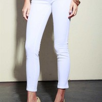 Cropped Jeggings - White