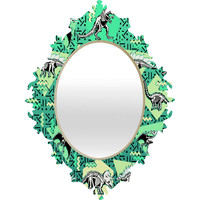Chobopop Nineties Dinosaur Skeleton Pattern Baroque Mirror
