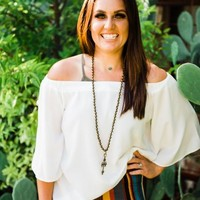 """""""Ole Sissalee"""" White Off The Shoulder Bell Sleeve Top"""